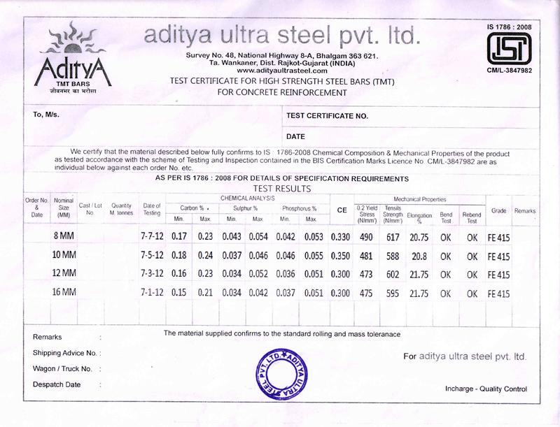 Quality: TMT bars, tmt steel bars, reinforcing steel